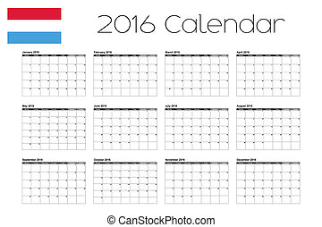 2016 Calendar with the Flag of Luxembourg