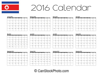 2016 Calendar with the Flag of North Korea - A 2016 Calendar...