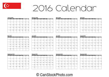 2016 Calendar with the Flag of Singapore - A 2016 Calendar...