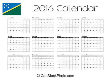 2016 Calendar with the Flag of Solomon Islands - A 2016...