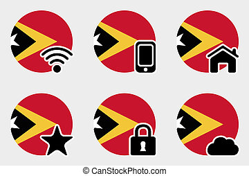 Web Icon Set with the Flag of East Timor - A Web Icon Set...