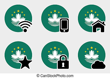 Web Icon Set with the Flag of Macau