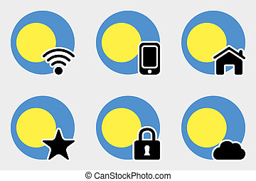 Web Icon Set with the Flag of Palau - A Web Icon Set with...