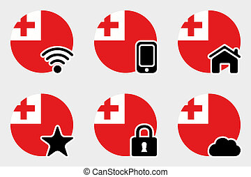 Web Icon Set with the Flag of Tonga - A Web Icon Set with...