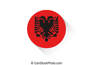 Round flag with shadow of Albania