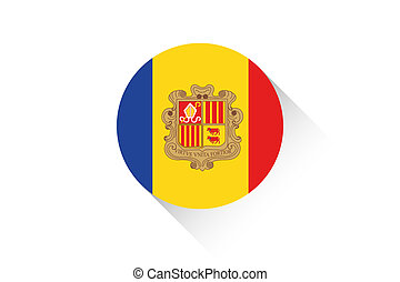 Round flag with shadow of Andorra