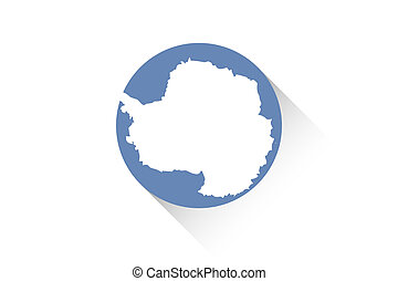 Round flag with shadow of Antartica