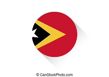 Round flag with shadow of East Timor - A Round flag with...