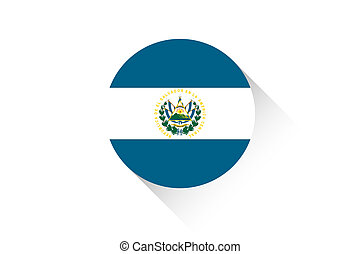 Round flag with shadow of El Salvador - A Round flag with...