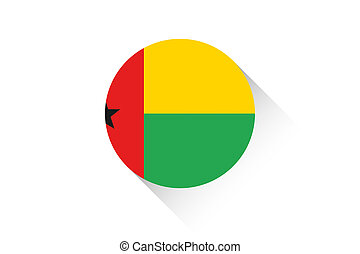 Round flag with shadow of Guinea Bissau - A Round flag with...