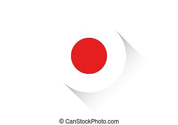 redondo, bandeira, com, sombra, de, Japão,