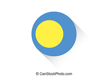 Round flag with shadow of Palau - A Round flag with shadow...