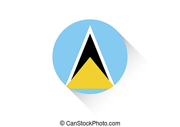 Round flag with shadow of Saint Lucia - A Round flag with...