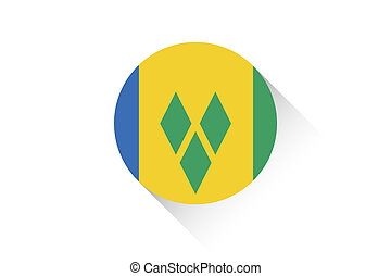 Round flag with shadow of Saint Vincents and the Grenadines...