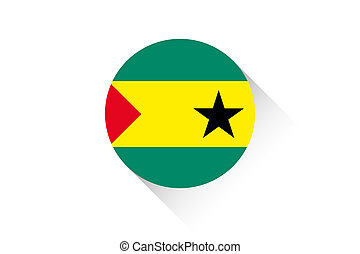 Round flag with shadow of Sao Tome E Principe - A Round flag...