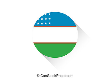 Round flag with shadow of Uzbekistan - A Round flag with...