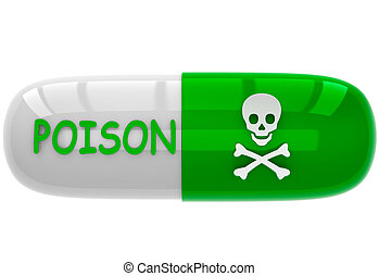 The pill with a sign poison
