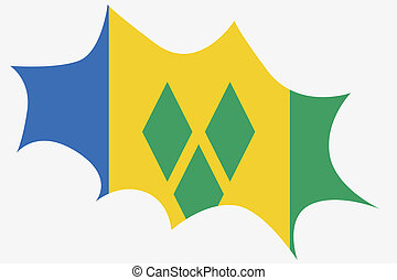 Explosion with the flag of Saint Vincents and the Grenadines...