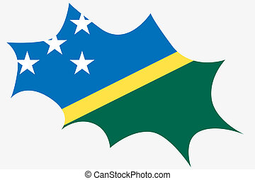 Explosion wit the flag of Solomon Islands - An Explosion wit...