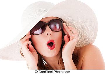 encanto, mujer, Llevando, verano, paja, sombrero