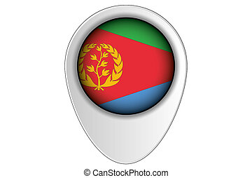 3D Map Pointer Flag Illustration of the country of Eritrea -...