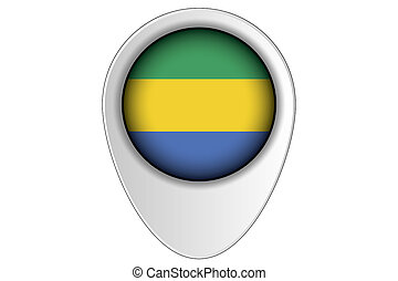 3D Map Pointer Flag Illustration of the country of Gabon - A...
