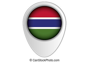 3D Map Pointer Flag Illustration of the country of Gambia -...