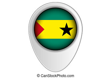 3D Map Pointer Flag Illustration of the country of Sao Tome...