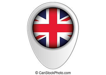 3D Map Pointer Flag Illustration of the country of  United Kingdom