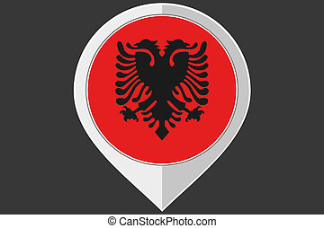 Pointer with the flag of Albania