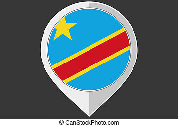 Pointer with the flag of Democratic Republic of Congo - A...