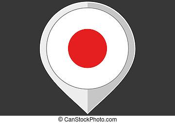 Ponteiro, com, a, bandeira, de, Japão,