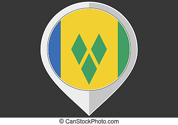 Pointer with the flag of Saint Vincents and the Grenadines -...