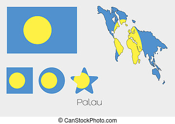 Multiple Shapes Set with the Flag of Palau - Illustrated...