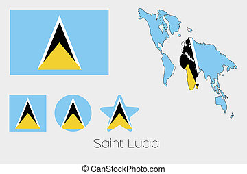 Multiple Shapes Set with the Flag of Saint Lucia -...