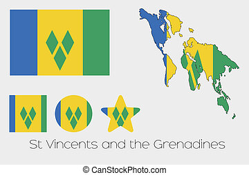 Multiple Shapes Set with the Flag of Saint Vincents and the...