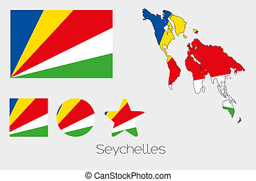 Multiple Shapes Set with the Flag of Seychelles -...
