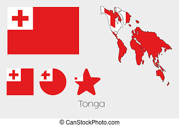 Multiple Shapes Set with the Flag of Tonga - Illustrated...
