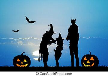 family on Halloween night