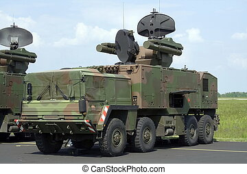 Anti air missile system weapon mounted on truck.
