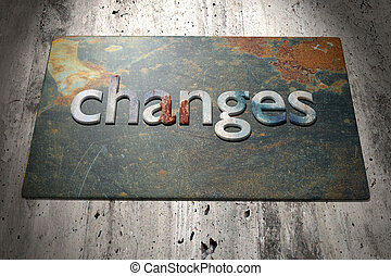 Changes - 3d rendering of the word changes over a rusty...