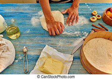 別針, 年輕, 廚師,  kneads, 金錢, 滾動, 女孩
