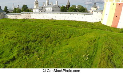 Flying over Spaso-Prilutsky monastery in Vologda, Russia