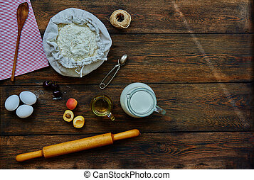 On the table lay a brown ingredients for cooking dough