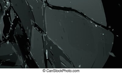 Glass shattered and broken in slow motion Alpha matte