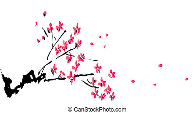 chinese painting of plum flower in a white background