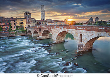 Verona. - Image of Verona, Italy during summer sunset.