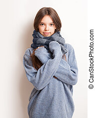 Cold weather coming. - Cold weather coming, cute brunette...