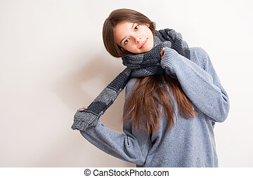 Cold weather coming - Cold weather coming, cute brunette...