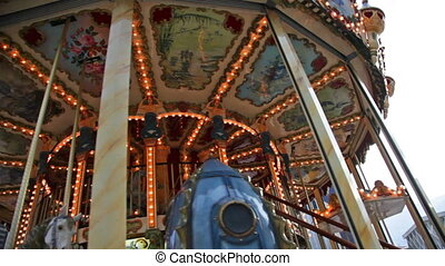 Festive carrousel with sparkling lights - Festive...